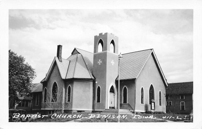 Denison Iowa~Baptist Church on Corner~Lamp Post~1940s Car~Real Photo Postcard