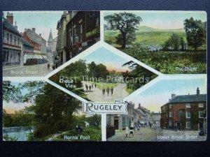 Staffordshire RUGELEY 5 Image Multiview c1917 Postcard by W. Shaw of Burslem