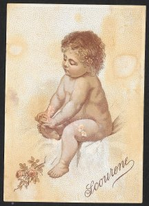 VICTORIAN TRADE CARD Scourene Soap Naked Sitting Baby