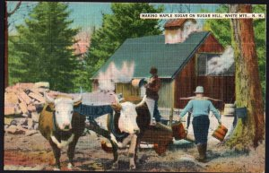 New Hampshire Making Maple Sugar on Sugar Hill White Mountains with Oxen LINEN