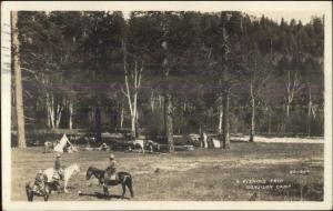Santa Fe NM 1930+C265 Cancel Fishing Trip Conjilon Camp Real Photo Postcard