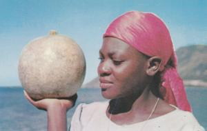 ST MARC, Haiti, 40-60s; Haitian Marketwoman with calabash