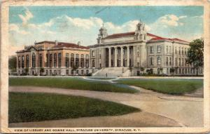 View of Library and Bowne Hall, Syracuse University NY Vintage Postcard L02