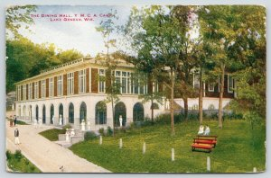 Lake Geneva Wisconsin~YMCA Camp~Bigger* Dining Hall~Girls on Hill by Bench~1916