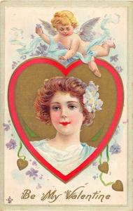 F12/ Valentine's Day Love Holiday Postcard c1910 Cupid Woman Gold 1