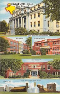 Hereford Texas~Grain Storage Elevators~Flour Mills~Schools~Hospital~1949 Linen