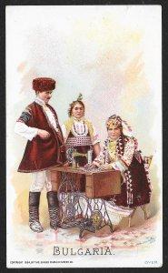 VICTORIAN TRADE CARD Singer Bulgaria Man & Two Ladies At Sewing Machine c1894