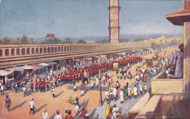India Jeypore Street Scene Native Regiment On The March Tucks