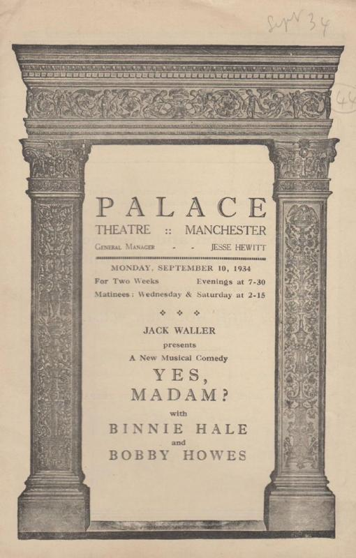 Yes Madam Musical Palace Manchester Vintage 1934 Theatre Programme