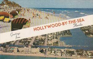 Florida Greetings From Hollywood By The Sea Showing Beach Scene and Aerial View