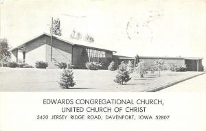 Davenport Iowa~Edwards Congregational Church UCC on Jersey Ridge Rd~RPPC 1967