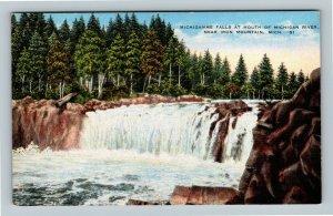 Iron Mountain MI, Michigamme Falls, Michigan River, Linen Michigan Postcard