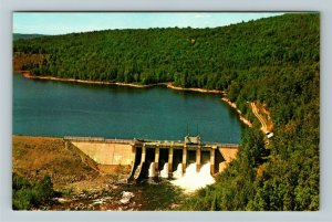 Upper Madawaska Valley, Bark Lake Dam, Aerial View Scenic Forest Chrome Postcard