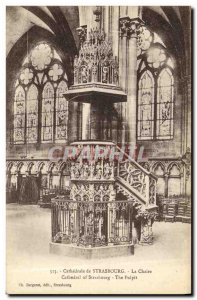 Old Postcard Strasbourg Cathedral Pulpit