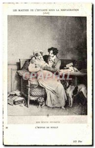 Old Postcard The Master Of The Print Under Restoration Work From L Boilly