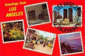 LOS ANGELES, CA Greetings Olvera Street c1960s Vintage Continental Postcard