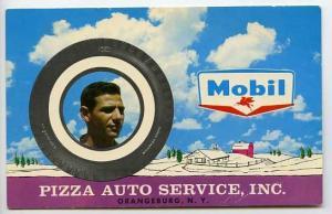 Orangeburg NY Pizza Auto Mobil Gas Station 1961 Postcard