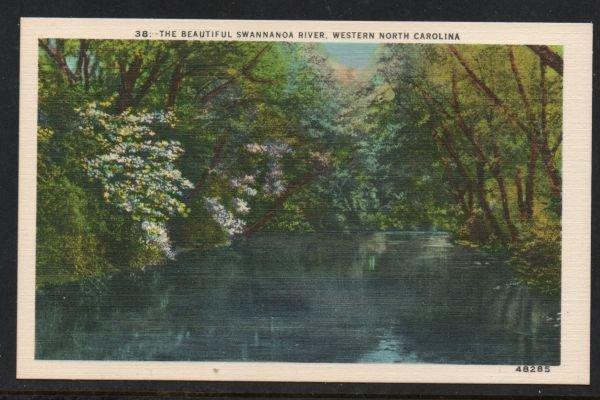 North Carolina colour pc Beautiful Swannanoa River, Western N.C unused
