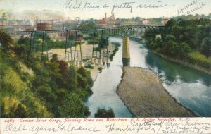 Rome & Watertown Railroad Bridge Rochester NY New York Genesee River Gorge p1906