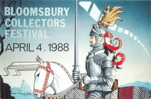 Postcard Bloomsbury postcard fair 1988 Knight on a horse japanese