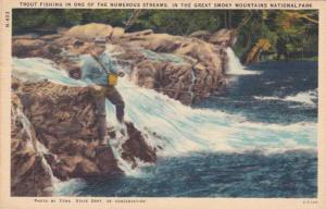 Trout Fishing in the Great Smoky Mountains - Tennessee - pm 1958 - Linen