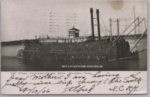 Memphis, Tenn., Cotton Transport. by River, Str. T. P. Leathers, 4000 Bales-1906