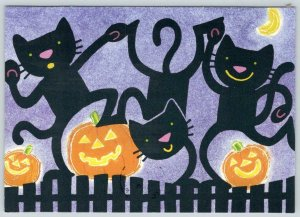 1990's HALLOWEEN HALLMARK VINTAGE POSTCARD DANCING BLACK CATS & JACK O LANTERNS
