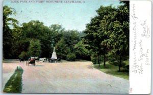 Cleveland Ohio Postcard Wade Park & Perry Monument Boulevard Scene 1907 Cancel