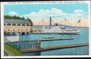 New Hampshire WINNEPESAUKEE Steamer Mt. Washington Wharf Weirs - White Border