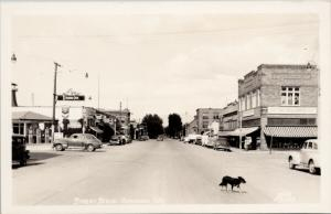 Street Scene Okanogan WA Dog Schalow's Standard Gas Ellis 2053 RPPC Postcard E46