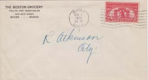 BOISE ID - THE BOSTON GROCERY - Fruits & Vegetables,  1926 - FLAG CANCEL - cover