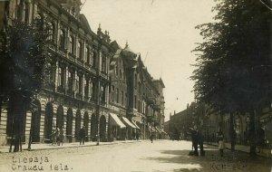 latvia, LIEPAJA LIBAU, Graudu Iela, Grain Street (1929) RPPC Postcard