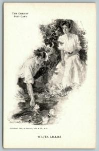 Howard Chandler Christy~Water Lilies~Pretty Lady & Gent at Pond~1905 B&W PC