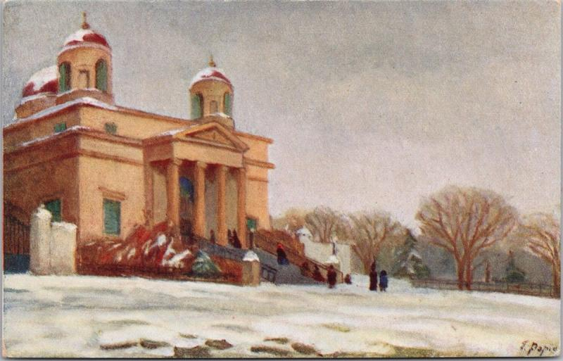 Kiev Ukraine Winter Scene Catholic Church T. Popielska Art Artist Postcard E35