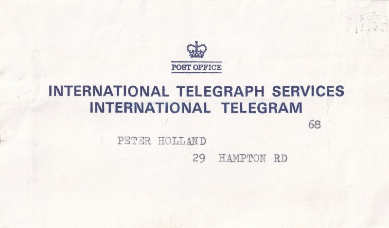 Blackpool 1974 Telegram & Post Office Envelope