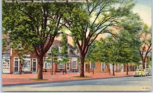 Williamsburg Virginia Postcard Duke of Gloucester Street Scene Linen 1949 Cancel