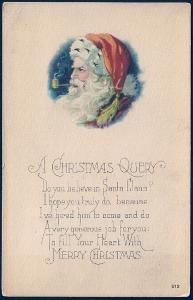 'Christmas Query...' Santa Smoking Pipe Unused c1920s