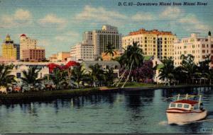 Florida Miami Downtown From Miami River Curteich