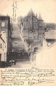 Liege Belgium birds eye view les Escaliers de Bueren antique pc Z19615