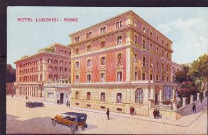 P1398 old unused postcard old cars people hotel ludovisi rome italy