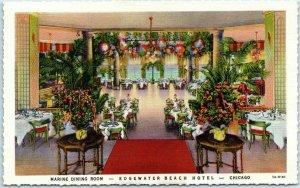 Chicago IL Postcard Marine Dining Room - EDGEWATER BEACH HOTEL Deckled Linen