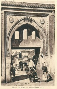Morocco Postcard Tanger picturesque Bab-el-Soko ethnic types and scenes donkey
