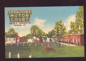 GUTHRIE KENTUCKY COVINGTON MOTOR COURT MOTEL LINEN ADVERTISING POSTCARD