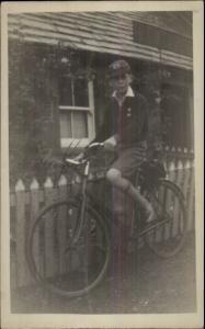Young Man Cap & High Socks Old Bicycle Vintage Fashion c1920 RPPC