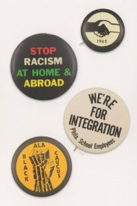 Stop Racism Black Racial Harmony Peace Protest Old Badge Button Postcard