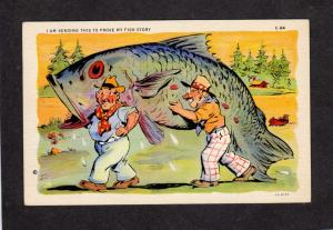 Fishing Fish Exagerration Postcard Fish Story Comic Vintage Linen Postcard PC