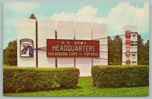 Fort Bragg North Carolina~Army Headquarters~Entrance Sign~Military~Emblems~1969
