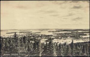 finland suomi, KUOPIA, Näköala Puijolta, Panorama (1930s) RPPC