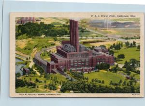 Postcard OH Ashtabula CEI Power Plant Airview Vintage Linen O04