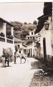 Mexico Taxco Street Scene With Burros REal Photo